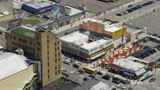 AX83_219 - 5K stock footage aerial video of Original Nathan's Famous Hot Dogs, Coney Island, Brooklyn, New York City