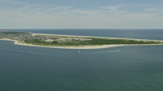AX83_222 - 5K stock footage aerial video approaching the beach at Breezy Point, Queens, New York