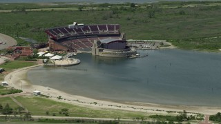 AX83_253 - 5K stock footage aerial video of Nikon at Jones Beach Theater at Jones Beach State Park, Wantagh, New York