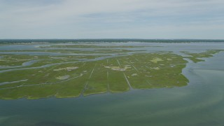 AX83_255 - 5K stock footage aerial video flying over marshy islands in South Oyster Bay near Massapequa, New York