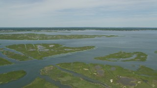 AX83_256 - 5K stock footage aerial video flying over mall marshy islands in South Oyster Bay near Massapequa, New York