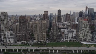 AX84_027 - 4K stock footage aerial video Flying by Upper West Side skyscrapers, New York, New York