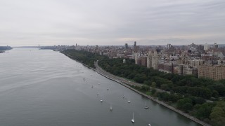AX84_029 - 4K stock footage aerial video Flying by Riverside Park, Upper West Side, New York, New York