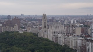 AX84_033 - 4K stock footage aerial video Flying by Riverside Church, Morningside Heights, New York, New York