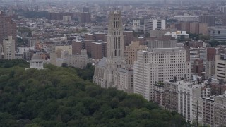 AX84_034 - 4K stock footage aerial video Flying by Riverside Church, Morningside Heights, New York, New York