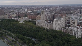 AX84_035 - 4K stock footage aerial video Flying by Riverside Church, Morningside Heights, New York, New York