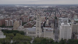AX84_036 - 4K stock footage aerial video Flying by Riverside Church, Morningside Heights, New York, New York