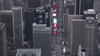 AX84_049 - 4K stock footage aerial video of 7th Avenue, Times Square, Midtown Manhattan, New York, New York