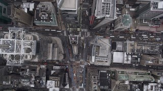 AX84_053 - 4K stock footage aerial video Flying over 7th Avenue, Times Square, Midtown Manhattan, New York, New York