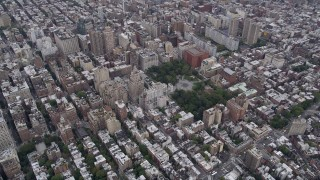 AX84_056 - 4K stock footage aerial video Panning left across Washington Square Park, Greenwich Village, New York, New York