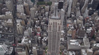 AX84_062 - 4K stock footage aerial video Approaching Empire State Building, Midtown Manhattan, New York, New York
