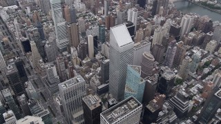 AX84_066 - 4K stock footage aerial video Approaching Citigroup Center, Midtown Manhattan, New York, New York