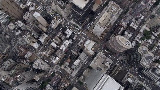 AX84_067 - 4K stock footage aerial video Bird's eye view flying over Midtown Manhattan skyscrapers, New York, New York