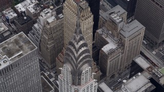 AX84_073 - 4K stock footage aerial video Bird's eye view of top of Chrysler Building, Midtown Manhattan, New York, New York