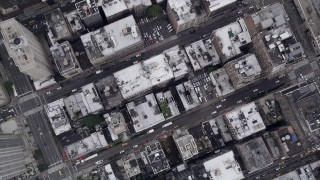AX84_076 - 4K stock footage aerial video Flying over Chelsea, Avenue of the Americas, 7th Avenue, New York, New York