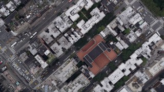 AX84_077 - 4K stock footage aerial video of a Bird's eye view flying over Chelsea, 7th and 8th Avenues, New York, New York
