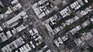 AX84_078 - 4K stock footage aerial video Bird's eye view flying over 8th Avenue, Chelsea, New York, New York