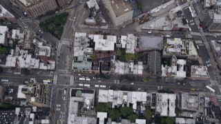 AX84_079 - 4K stock footage aerial video of a Bird's eye view over Chelsea, revealing Greenwich Village, New York, New York