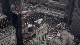 AX84_085 - 4K stock footage aerial video Flying by World Trade Center Memorial, Lower Manhattan, New York, New York
