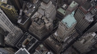 AX84_087 - 4K stock footage aerial video Bird's eye view over 40 Wall Street, Lower Manhattan, New York, New York
