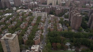 AX84_100 - 4K stock footage aerial video Flying by housing projects, Lower East Side, New York, New York