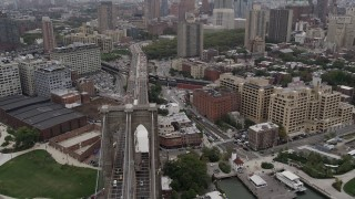 AX84_118 - 4K stock footage aerial video Flying over Brooklyn Bridge, Brooklyn, New York, New York