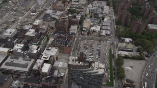 AX84_119 - 4K stock footage aerial video Panning left across Brooklyn buildings, New York, New York