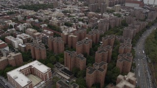 AX84_128 - Aerial stock footage of 4K Aerial Video Fly over Lower East Side, Midtown Manhattan, Stuyvesant Town, New York