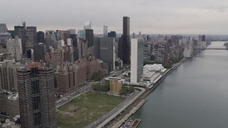 AX84_136 - Aerial stock footage of 4K Aerial Video Flying by United Nations, Midtown Manhattan, New York, New York