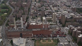 AX84_149 - Aerial stock footage of 4K Aerial Video Consolidated Edison Company, East Village, Lower Manhattan, New York, New York