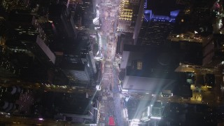 AX85_045 - 4K stock footage aerial video Bird's eye view of Times Square, Midtown Manhattan, New York, New York, night