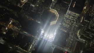 AX85_064 - 4K stock footage aerial video 383 Madison Avenue, Midtown Manhattan, New York, New York, night