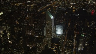 AX85_065 - 4K stock footage aerial video Flying by Citigroup Center, Midtown Manhattan, New York, New York, night