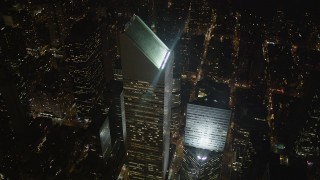 AX85_066 - 4K stock footage aerial video Flying by Citigroup Center, Midtown Manhattan, New York, New York, night