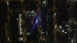 AX85_089 - 4K stock footage aerial video Bird's eye view flying over Chelsea streets, New York, New York, night