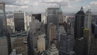 AX87_017 - 4K stock footage aerial video Flying over Lower Manhattan skyscrapers, New York, New York