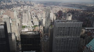 AX87_018 - 4K stock footage aerial video Fly over Lower Manhattan, toward 8 Spruce Street, New York, New York