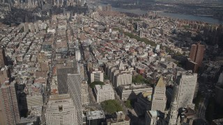 AX87_020 - 4K stock footage aerial video Approaching Tribeca, New York, New York