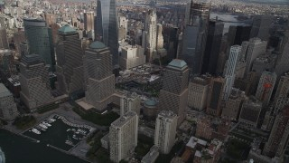 AX87_031 - 4K stock footage aerial video Flying by World Trade Center Memorial, Lower Manhattan, New York, New York