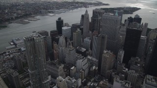 AX87_036 - 4K stock footage aerial video of 8 Spruce Street, Lower Manhattan, toward the East River, New York, New York