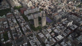 AX87_052 - 4K stock footage aerial video University Village, Washington Square Village, Greenwich Village, New York