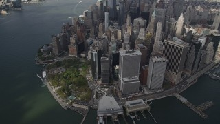 AX87_063 - 4K stock footage aerial video Flying by Lower Manhattan, New York, New York