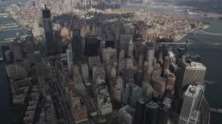 AX87_066 - 4K stock footage aerial video Panning across Lower Manhattan, high altitude, New York, New York