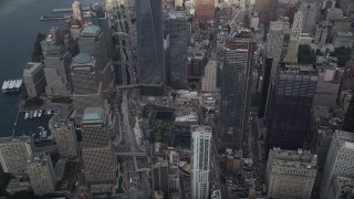 AX87_068 - 4K stock footage aerial video Approaching World Trade Center Memorial, Lower Manhattan, New York, New York