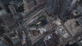 AX87_070 - 4K stock footage aerial video Bird's eye view over World Trade Center Memorial, Lower Manhattan, New York