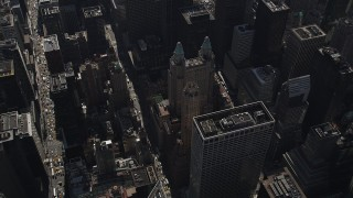 AX87_082 - 4K stock footage aerial video Tilt down to reveal Waldorf-Astoria, Midtown Manhattan, New York, New York