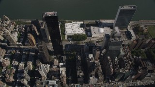 AX87_095 - 4K stock footage aerial video Flying over Midtown Manhattan, revealing United Nations, New York, New York
