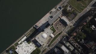 AX87_096 - 4K stock footage aerial video Orbiting the United Nations, Midtown Manhattan, New York, New York