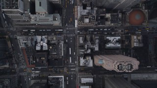 AX87_118 - 4K stock footage aerial video Bird's eye view flying over 7th Avenue, Midtown Manhattan, New York, New York