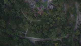 AX87_119 - 4K stock footage aerial video Bird's eye view over 7th Avenue, Central Park, Midtown Manhattan, New York